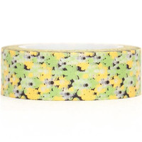 Floral Paper Deco Washi Masking Tape Roll Adhesive Stickers green and yellow flowers WT36