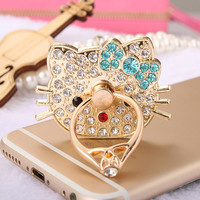1pc 360 Degree Hello Kitty Finger Ring Mobile Phone Stand Holder For all Smart Phone/tablet computer Watch video support