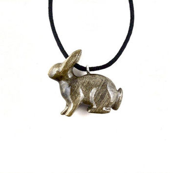 Bunny Pendant, Bunny Necklace, Rabbit Pendant Rabbit Necklace, Wood Bunny Necklace, Rabbit Jewelry, Hand Carved Animal Pendant, Wood Jewelry
