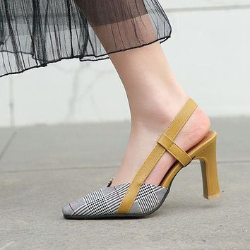 Women Pointed Toe High Heel Chunky Sandals