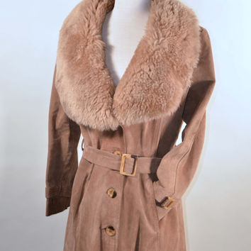 Vintage 70s Suede Shearling Fur Collar Mod Rocker Penny Lane Minimalist Spy Trench Coat by Avanti Size L