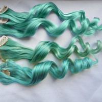 Turquoise Siren Human Hair Extensions : Clip In Hair Extensions, Blue Hair Extensions, Ombre Hair, Green Hair Extensions