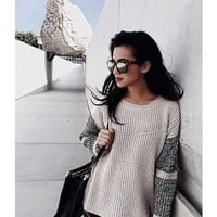 Patchwork Knit Sweater [6351441284]