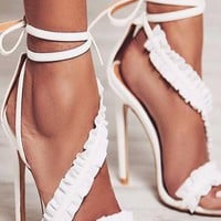Flounce  Strappy Fashion Women Peep Toe High Heels Shoes