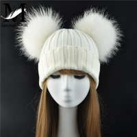 Winter Real Fur Ball Beanie Hat for Women Ladies Fluffy Double Natural Raccoon Fur Pom Pom Skullies Beanie Hat With 2 Fur Pompom