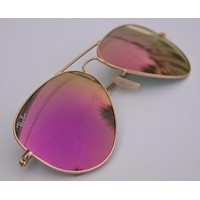 Cheap Ray Ban Aviator Sunglasses Authentic RB3025 Pink/Lenses 58mm Mirrored Gold Frame outlet