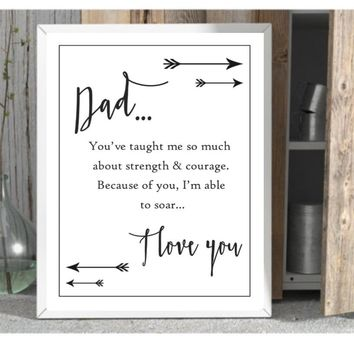 Dad prints gift for dad unframed art print 8 x10 quote wall decor