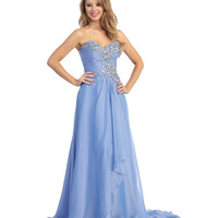 Periwinkle Chiffon & Beaded Strapless Gown Prom 2015