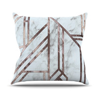 "KESS Original ""Dark Marble Mosaic"" Digital Geometric Throw Pillow"
