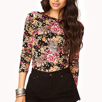 Vibrant Floral Stretch-Fit Top