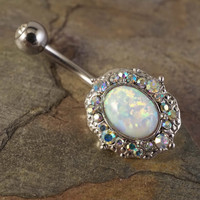 Sparkly White Fire Opal Belly Button Ring