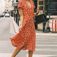 Elegant Boho Long Dress Red Women Vintage Short Sleeve Floral Print Wrap Midi Sundress Sexy Party Dress Bohemian