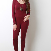 Long Sleeve Jersey Knit Leotard Jumpsuit