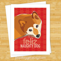 Dog Christmas Cards - Shiba Inu Feliz Naughty Dog - Merry Christmas Cards Holiday Feliz Navidad