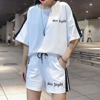 Woman Casual  Fashion Letter Spell Color Embroidery Print Short  Sleeve shorts Two-Piece Casual Wear
