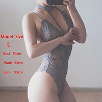 2017 Chic Choker Lace Bodysuit Ladies Jumpsuit Fashion Rompers Womens Transparent Playsuits Feminino Bodycon Overall KWH0194-45