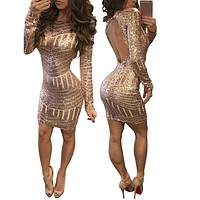 Classics  Sexy Long Sleeves Sequined Leakback Bodycon Dresses