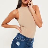 Missguided - Nude High Neck Slinky Sleeveless Bodysuit
