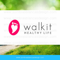 OOAK Premade Logo Design - Heart Footprint - Perfect for a fitness blog or a sportswear boutique