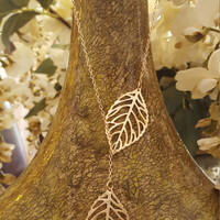 Single layer gold and silver plated Leaf charms necklace