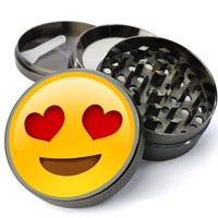 Emoji Heart Eyes Extra Large 4 Chamber Herb Grinder With Mesh Screen
