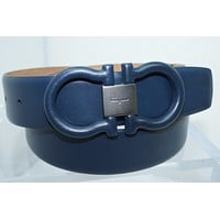 New Salvatore Ferragamo Men's Belt Blue Gancini Size 32 Adjustable Leather