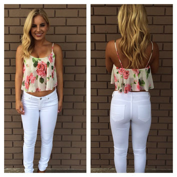 Fleur of the Day Crop Top - Ivory