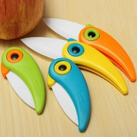 Cute Bird Pattern Folding Cutlery Ceramic Fruit Knife Outdoor Activities Camping Home Kitchen 2017