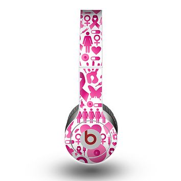 The Pink Collage Breast Cancer Awareness Skin for the Beats by Dre Original Solo-Solo HD Headphones