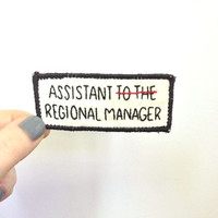 """Hand embroidered """"Assistant to the Regional Manager"""" sew on patch - The Office - Dwight Schrute title - tv show, Michael Scott, embroidery"""