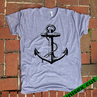 Anchor. Unisex heather gray tri blend T shirt . Fun Women Mens Clothing.Nautical. Ship. Ocean. Tattoo.Pirate.Hipster