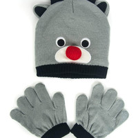 Grey Cute Bear Design Hat Of Knitted Set