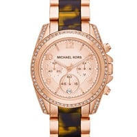Michael Kors Mid-Size Rose Golden Stainless Steel Blair Chronograph Glitz Watch