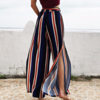 Women'S Sexy Striped Chiffon Trousers