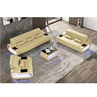 Modern Leather Sofa 1+2+3 Seater With LED Lights