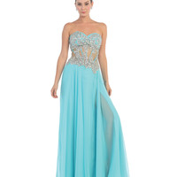 Aqua Blue Jersey Embroidered Strapless Mesh Corset Gown 2016 Prom Dresses