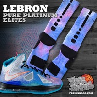 Custom Nike Elite Socks - Freshswagg.com — Lebron Pure Platinum Nike Elite Socks