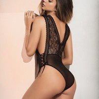 Sheer Mesh and Lace Teddy Lingerie