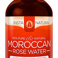 InstaNatural Rose Water Toner for Face - 100% Pure & Natural Flower Facial Cleanser - Preps Sensitive, Dry, & Acne Prone Skin for Serums & Moisturizers - Put Those Spray Mists Away & Blossom - 4  OZ