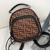 FENDI Newest Fashionable Woman Leather Handbag Tote Satchel Shoulder Bag Mini Backpack Brown