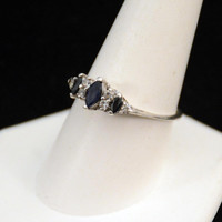 Silver Sapphire Ring, Vintage Sapphire Ring, Sterling Sapphire Ring, Sapphire Cocktail Ring        J1021