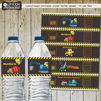 Trucks printable water bottle stickers, water bottles personalized wraps, DIY under construction birthday decoration for boys