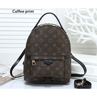 LV tide brand men and women fashion wild classic chess board old flower casual backpack Coffee print