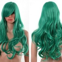 HealthTop Long Wavy Green Heat Resistance Cosplay Wig Anime Show & Party & Performance Hair Full Wigs