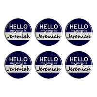 Jeremiah Hello My Name Is Plastic Resin Button Set of 6