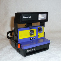 Spirit 600 Polaroid Camera - Upcycled With Purple and Yellow