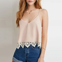 Lace Accent Spaghetti Strap V-neck Cropped Top