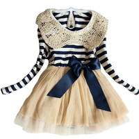 Kids Toddler Girls Party Long Sleeve Bow Lace Formal Dress Tulle Skirt = 1946412548