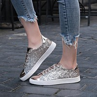 Casual Flat Lace-Up Bling Glitter Shoes