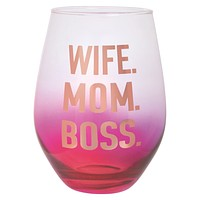 Wife. Mom. Boss. Funny Oversize Stemless Wine Glass | Holds an Entire Bottle of Wine! | Transparent Ombre Pink